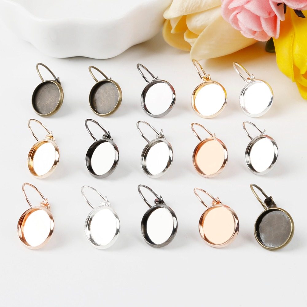 10pcs 14mm outsize Classic Color Series French Lever Back Earrings hook Blank/Base,fit 12MM glass cabochons earring bezels