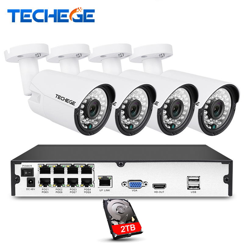 Techege 8CH 1080 p POE NVR kit 2MP 3000TVL PoE IP Caméra P2P Nuage CCTV Système IR Nuit Extérieure Vision vidéo Surveillance Kit