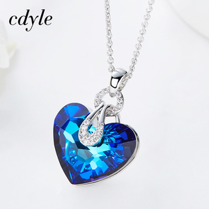 Image 4 - Cdyle Embellished with crystal Pendant Blue AB Color Heart Shaped Trendy Engagement Jewelry Bijoux Sexy Lady