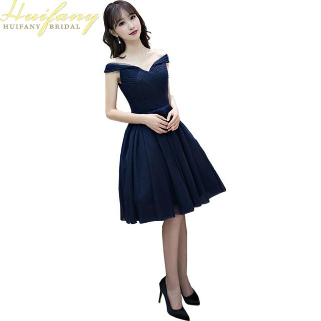 d22b5e0d1 2017 Corto de dama de Honor Vestidos de Azul Marino Oscuro Vestidos Del  Banquete de Boda