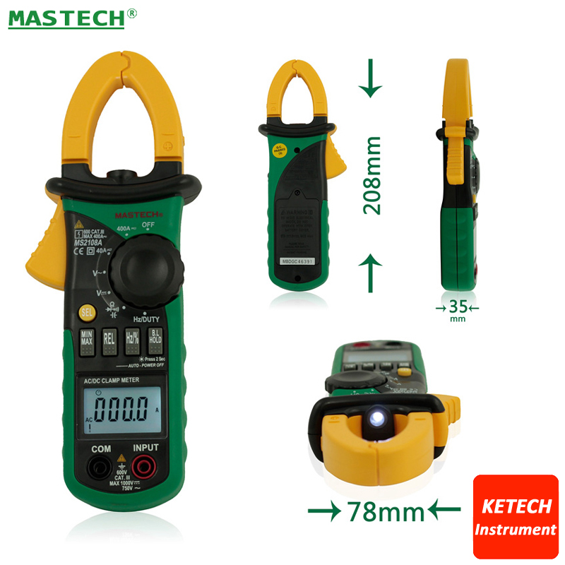 Mastech MS2108 Digital Clamp Meter True-rms Inrush Current 66mF Capacitance Frequency Measurement 1 pcs mastech ms8269 digital auto ranging multimeter dmm test capacitance frequency worldwide store