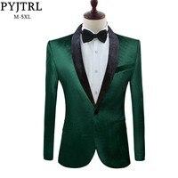PYJTRL Men's Green Purple Pink Blue Gold Red Black Velvet Fashion Suit Jacket Wedding Groom Stage Singer Prom Slim Fit Blazers