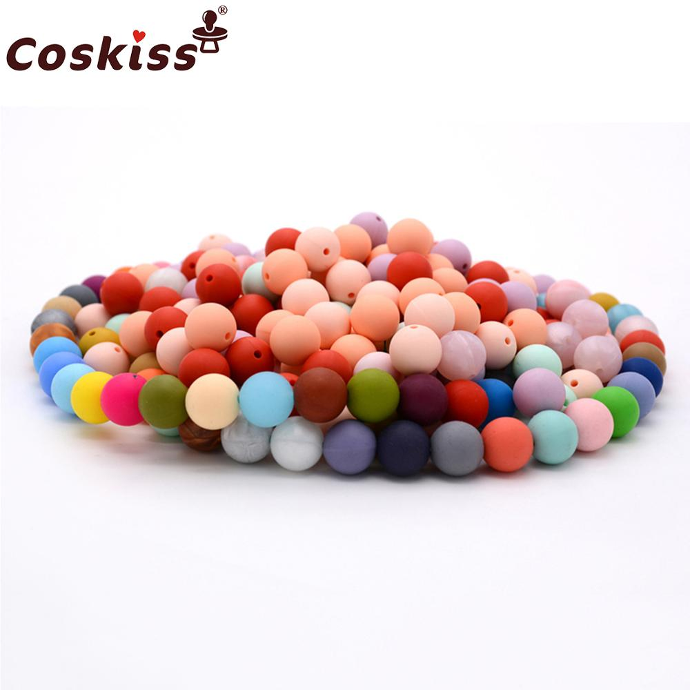 100pc 12mm Silicone Baby Teether Round Beads  Bpa Free Chewable Silicone Beads
