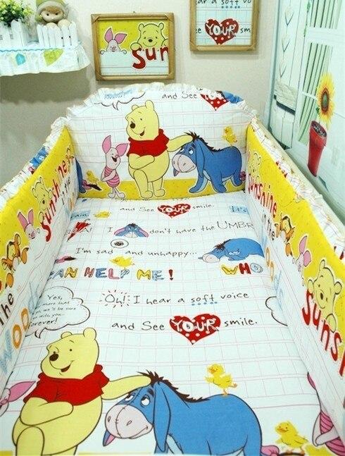 Promotion! 6PCS  Baby Bedding Set crib kit 100% Cotton Bumper Suit Winter Bedclothes ,include(bumpers+sheet+pillow cover) promotion 6 7pcs baby bedding kit crib 100