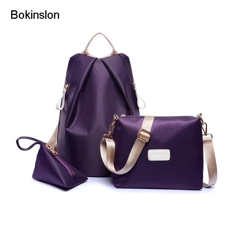 Bokinslon рюкзак Сумки Для женщин нейлон Мода Grils рюкзак Сумки одноцветное Цвет Повседневное студент Сумки для дам