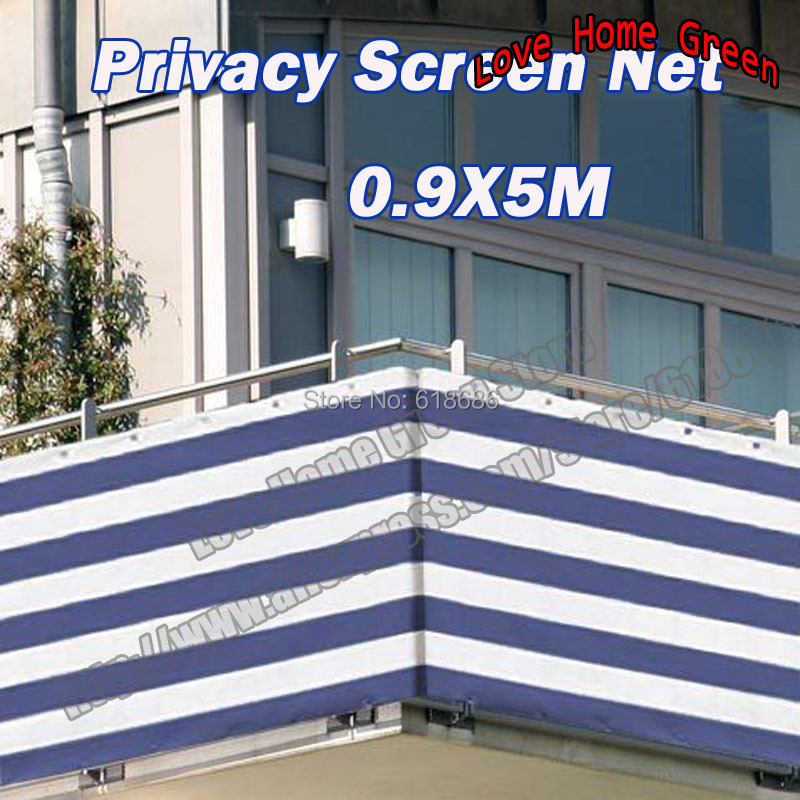 Blue/white 0.9X5M striped privacy screen net awning fence for Deck Patio Balcony Porch ...