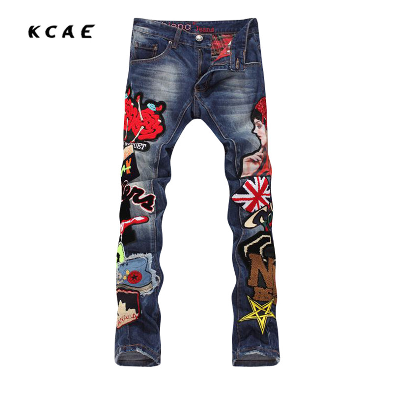 New High Quality Wash Water Holes Beggar Style Jeans Men Embroidery Stitching  Mens Jeans Pop Fashion Straight Trousers beggar s feast