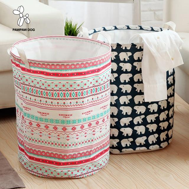 Lona de algodão Tecido Dobrável Organizador Caixa Cestas Cestas Banheiro roupas Sujas Grande Cesto De Roupa Dos Desenhos Animados Crianças Recipiente Para O Brinquedo