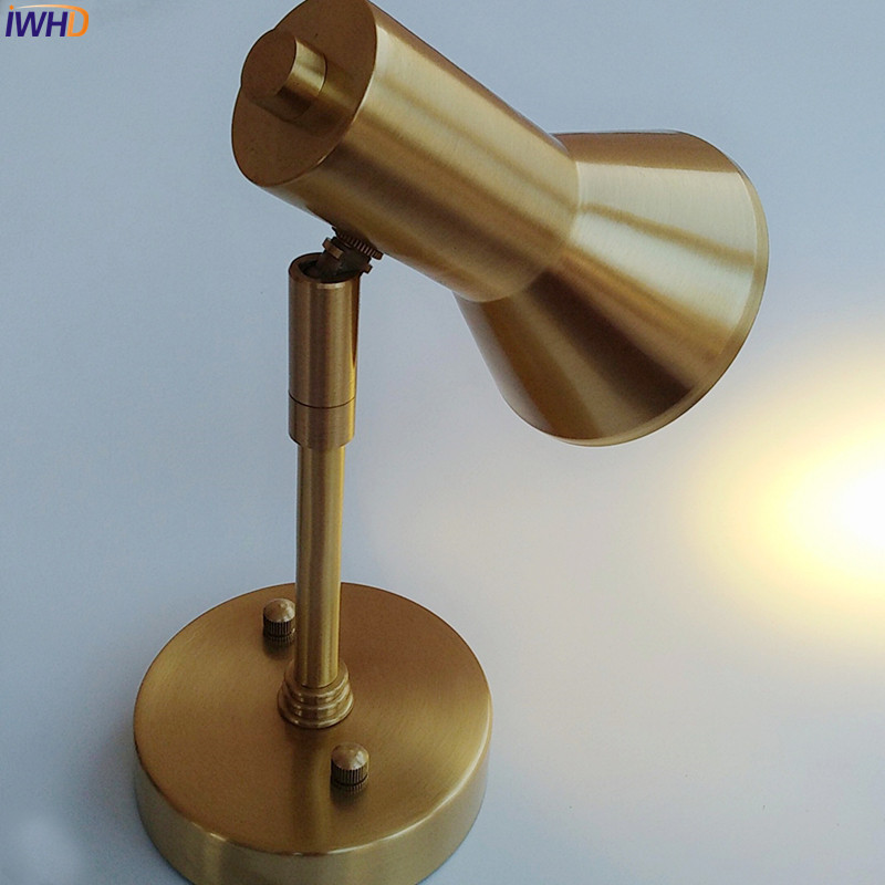 IWHD Nordic Copper LED Wall Lights brass American Beside Lamp Bathroom Mirror Light LED Wall Sconce Arandela Lampara Pared iwhd nordic modern led wall lamp living room fabric switch led wall light stair arandela lampara pared