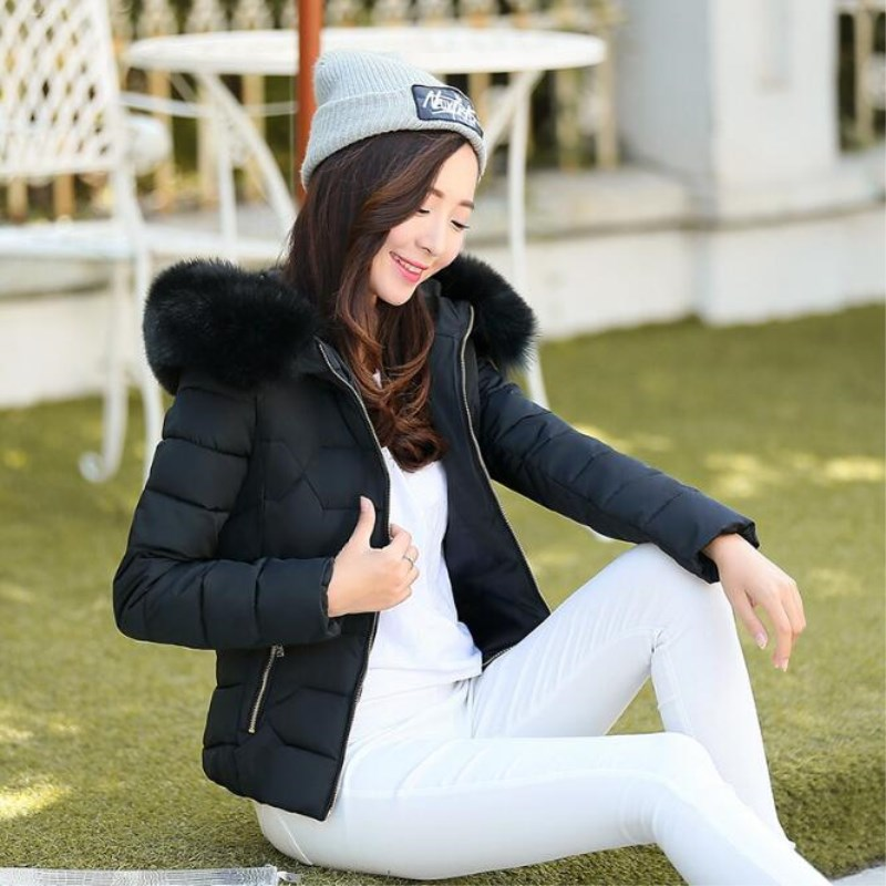 Hooded Fur pink 2019 3xl Fashion Black gray blue With Collar Jacket Large Coat Clothing Slim Winter white Size Warm Short Cotton Women qwqn74vR