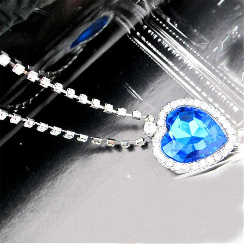Oceanicznego Titanic wisiorek kryształowe serce naszyjnik z całego serca kryształ miłość naszyjnik dla kobiety oświadczenie naszyjnik