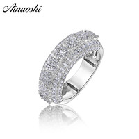 AINOUSHI Fashion 925 Sterling Silver Men Wedding Engagement Ring Male Silver Anniversary Ring Party Gift Jewelry anillo de bodas