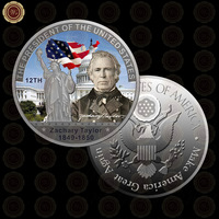 WR Zhchary Taylor US President Gift Coin 999.9 Silver Plated Metal Coins Festival Souvenir Gifts Commemorative Metal Crafts