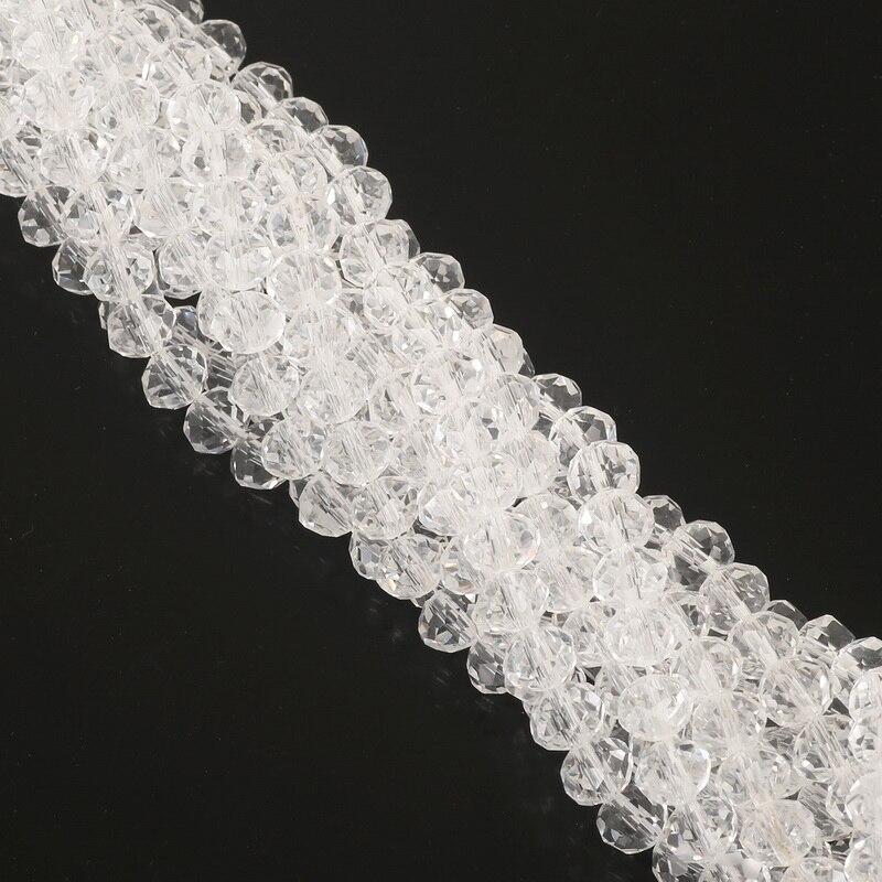 2, 3, 4, 6, 8 мм около 70-195 шт хрустальные бусины AB разноцветные стеклянные бусины Sapcer для изготовления ювелирных изделий DIY браслет ручной работы оптом - Цвет: Transparent White