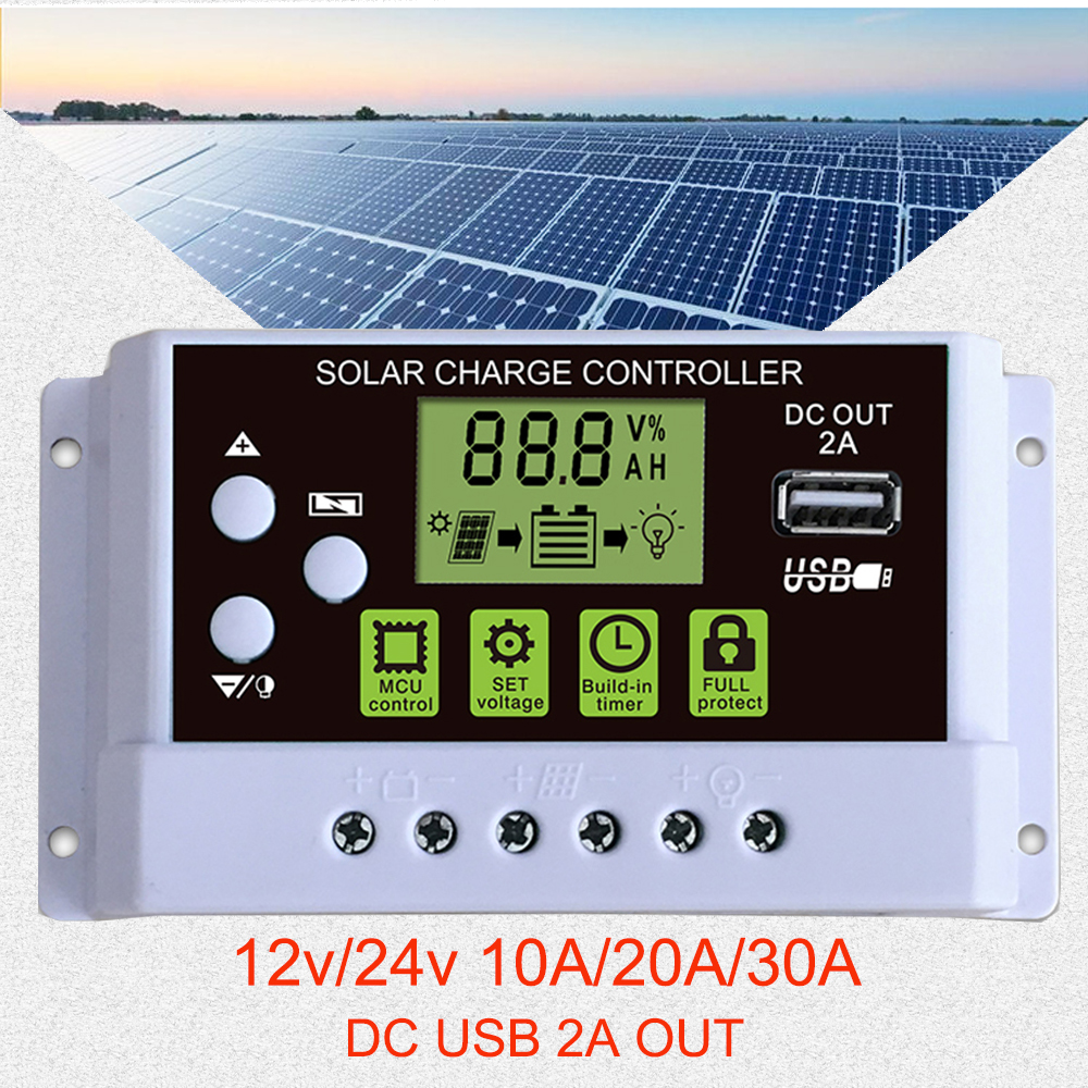 10A/20A/30A Solar Panel USB Display Generator Regulator Ports 12V/24V With Solar Battery Controller PWM LCD Intelligent Charge