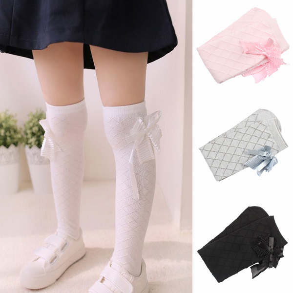 25f0746d18e TOP Lovely Baby Kids Girls Bowknot Cotton Plaids Stockings School High Knee  Stockings-in Tights   Stockings from Mother   Kids on Aliexpress.com