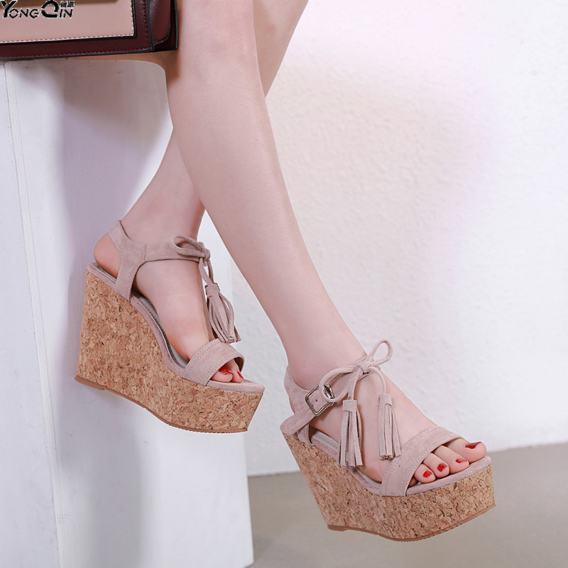 Summer Ultra High Wedges Heel Sandals Fashion tassel Open Toe Platform   Women Sandals Shoes