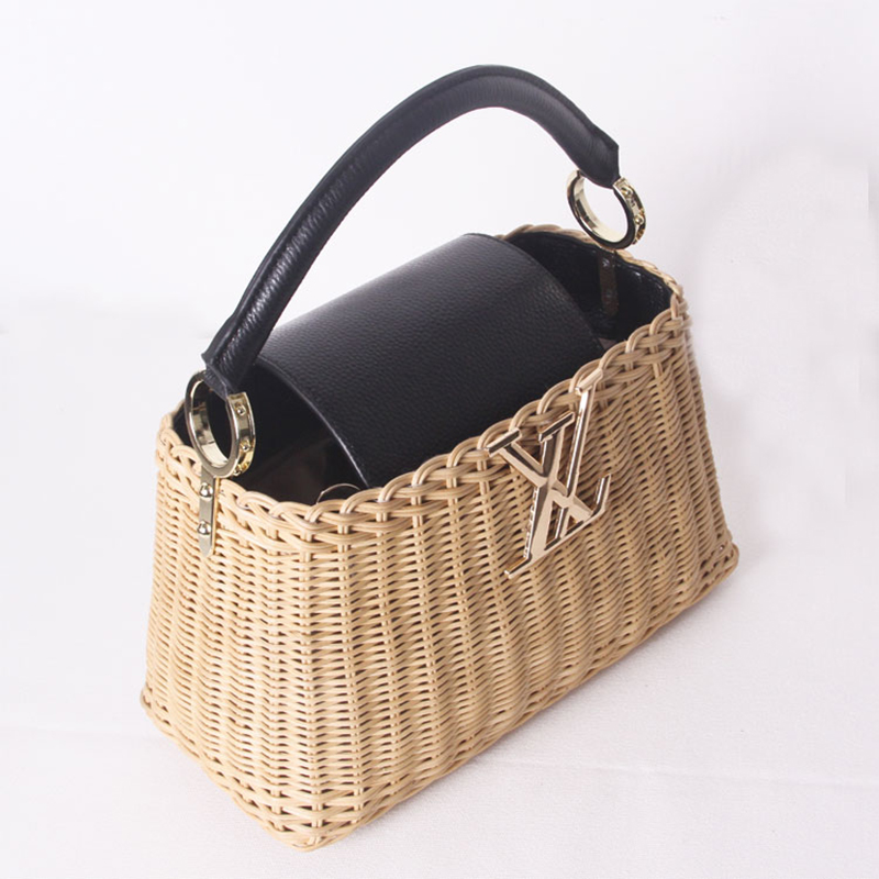Image 3 - Womens rattan handbag luxury Messenger bag genuine leather handmade rattan weaving 2019 summer beach bags for women sac mainTop-Handle Bags   -