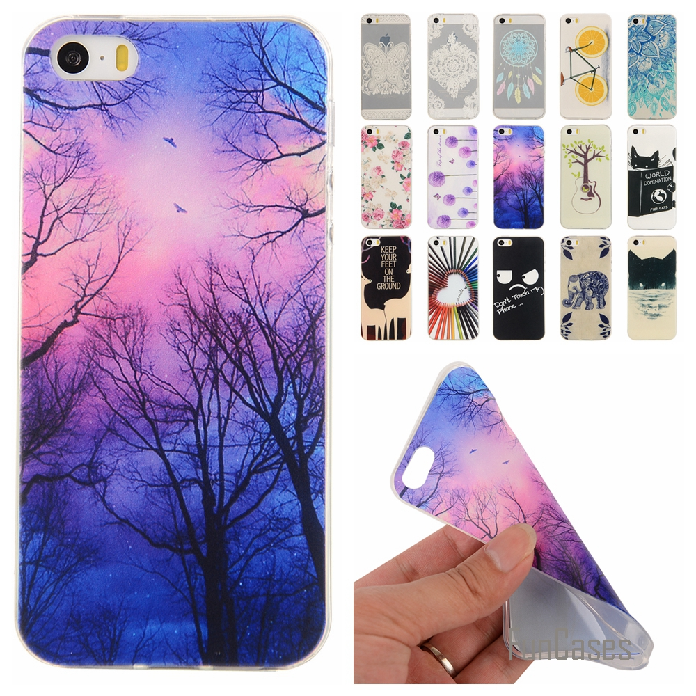 For iPhone 5 5S 5G Soft TPU Cute Cartoon Lemon Bicycle Rubber Back Cover Silicon Gel Cov ...