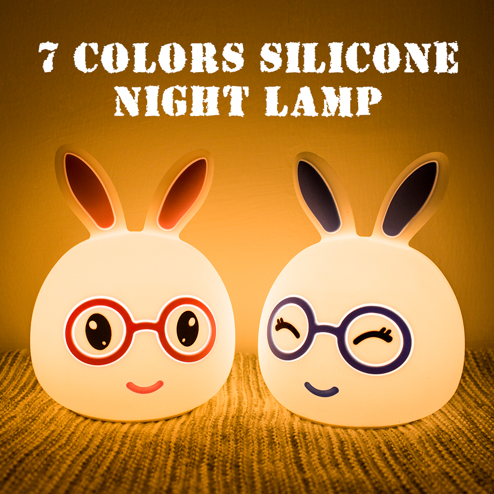 Lamp Creative Lighting Fixture Colorful Home Indoor Silicone Rabbit Shape Baby Gifts Night Light Room Decor Decompression