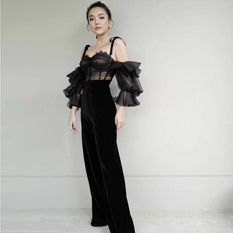 Terciopelo Correa Moda Calle Nueva Pista Encaje Diseñador Espagueti Camis Top Mujeres Las La Traje 2019 De Pantalones vwHqa