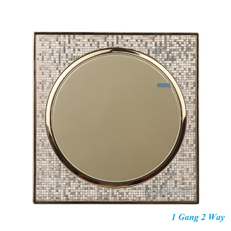 Luxury Champagne Gold Wall Switch 1 Gang Double Control Switch Simple and Fashion Round Button Switch 86mm*86mm luxury champagne gold wall switch round button switch 3 gang double control light switch simple and fashion 86mm 86mm