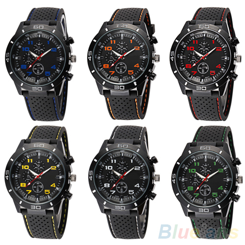 Men's Fashion Black Silicone Band Stainless Steel Sports Analog Quartz Wrist Watch 6JLO ysdx 398 fashion stainless steel self stirring mug black silver 2 x aaa