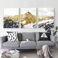 Gohipang Golden Snow Mountain Abstract Wall Art Print Canvas Painting Decorative Picture For Home Decor Poster