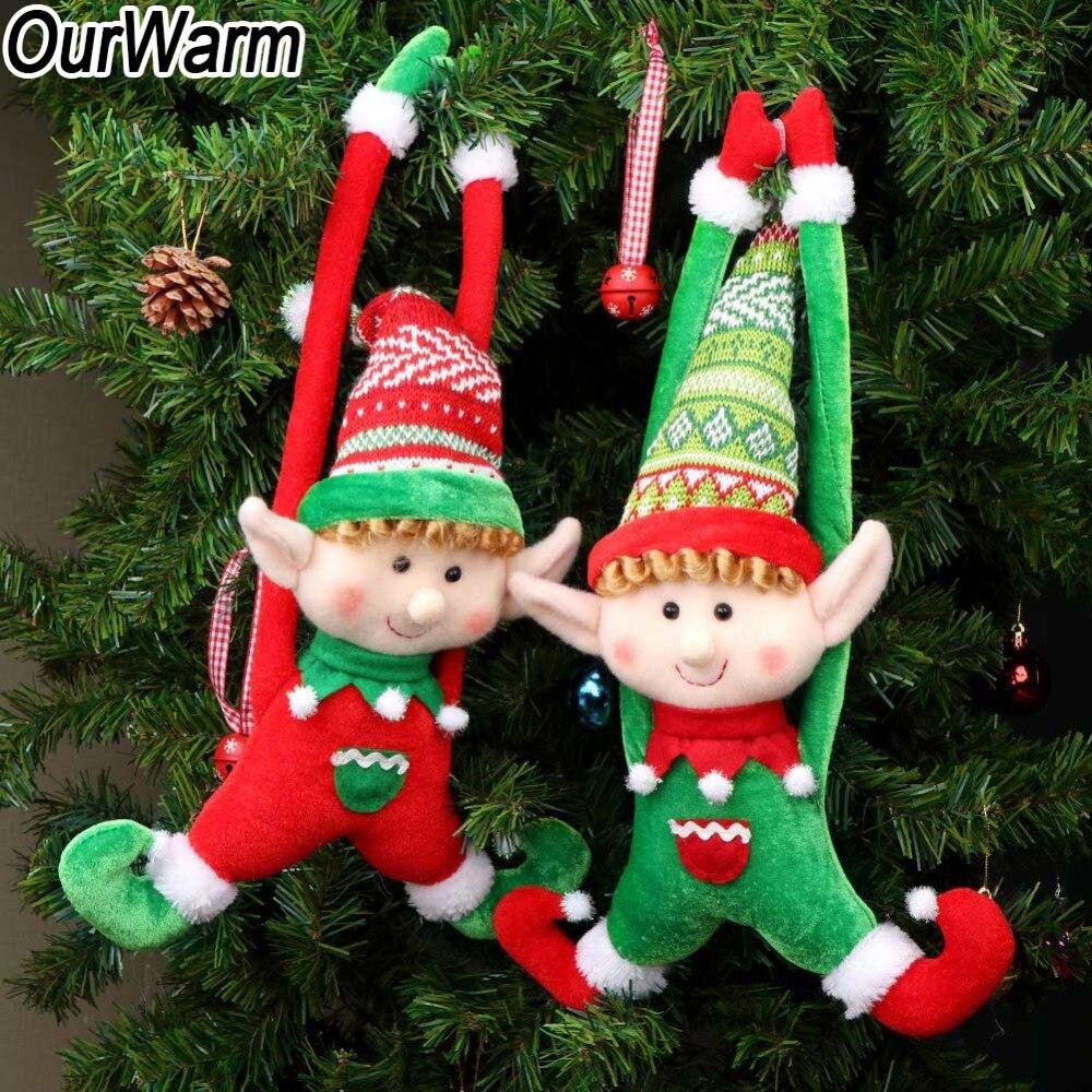 OurWarm 2pcs Long-Legged Elf Christmas Doll Gift Decoration Tree Door
