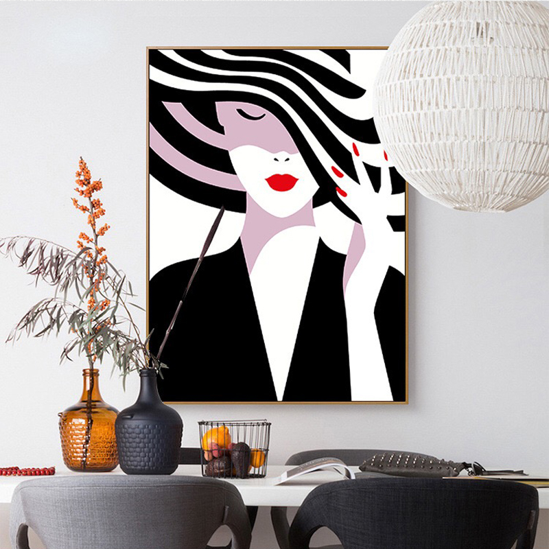 100 Hand Painted Morden Fashion Beautyful Girl Art Oil Painting On Canvas Wall Art Wall Painting For Live Rooms Home Decoration in Painting Calligraphy from Home Garden