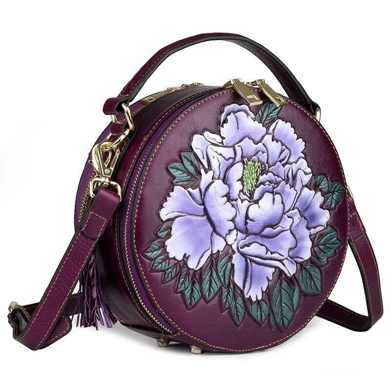Senhora circular saco genuína flor de couro festa à noite sacos de mão mulher de negócios de moda casual ombro do vintage pequeno saco rodada