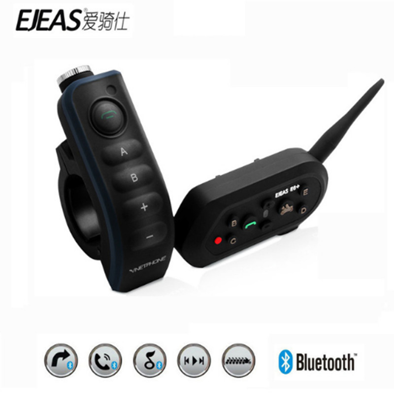 EJEAS E6 Plus Motorcycle Intercom 1200M Communicator Bluetooth Helmet Interphone Headsets VOX With Remote Control For 6 Riders