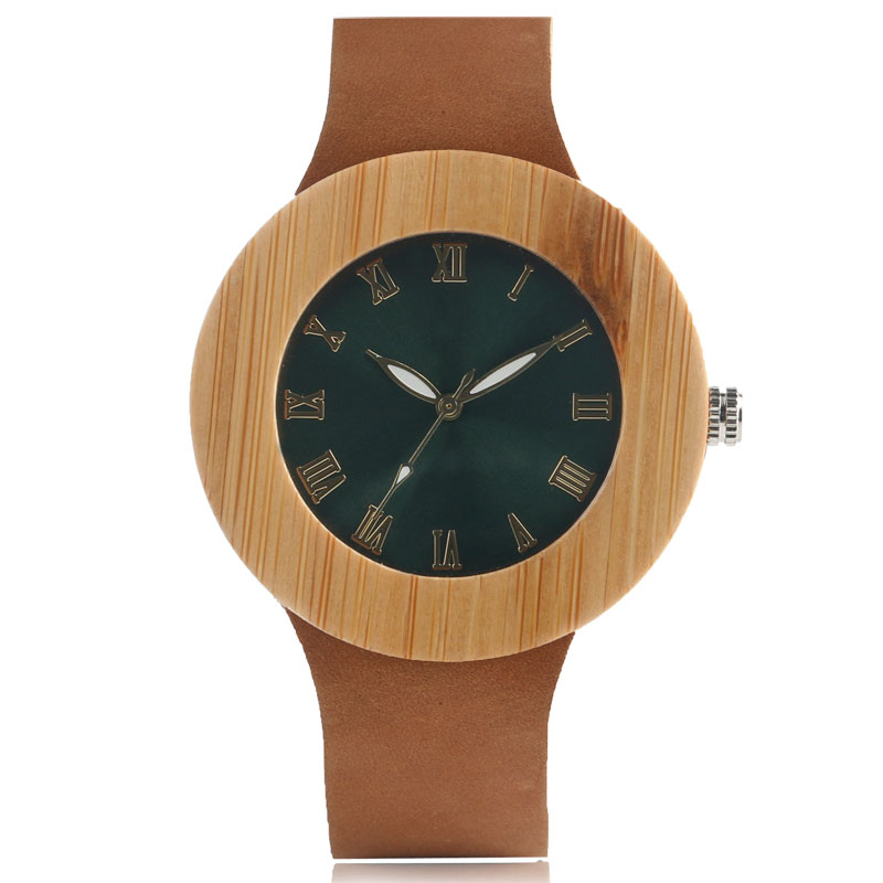 Nature Wood New Arrival Wrist Watch Trendy Genuine Leather Band Strap Women Green Face Unique Bamboo Modern Fashion casual nature wood bamboo genuine leather band strap wrist watch men women cool analog bracelet gift relojes de pulsera
