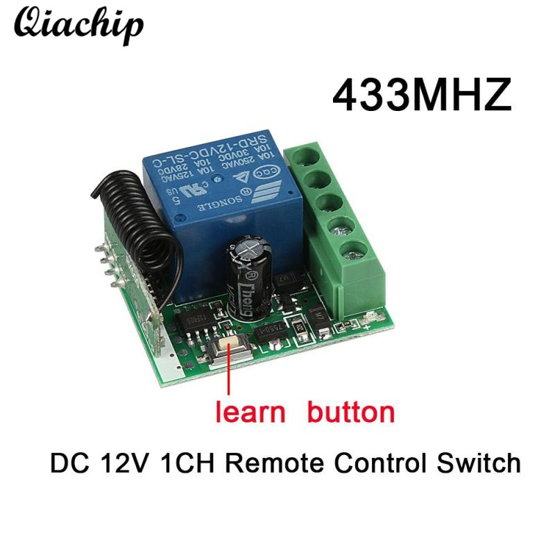 QIACHIP DC 12V 1 CH 433MHz Wireless Learning Button Remote Control Switch RF Relay Receiver Module For Smart Home Light DIY Kit ...