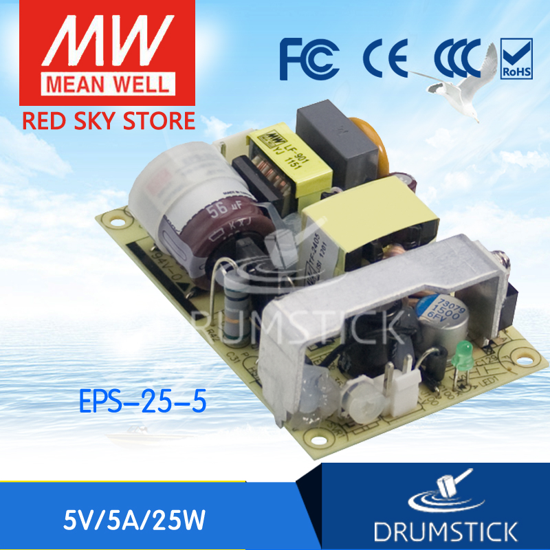Redsky free-delivery 10Pcs Hot! MEAN WELL original EPS-25-5 5V 5A meanwell EPS-25 5V 25W Single Output Switching Power Supply free hk post eps original ink cartridge 2pces 1set t1421 black eps me 560w 620f 570w economical practical