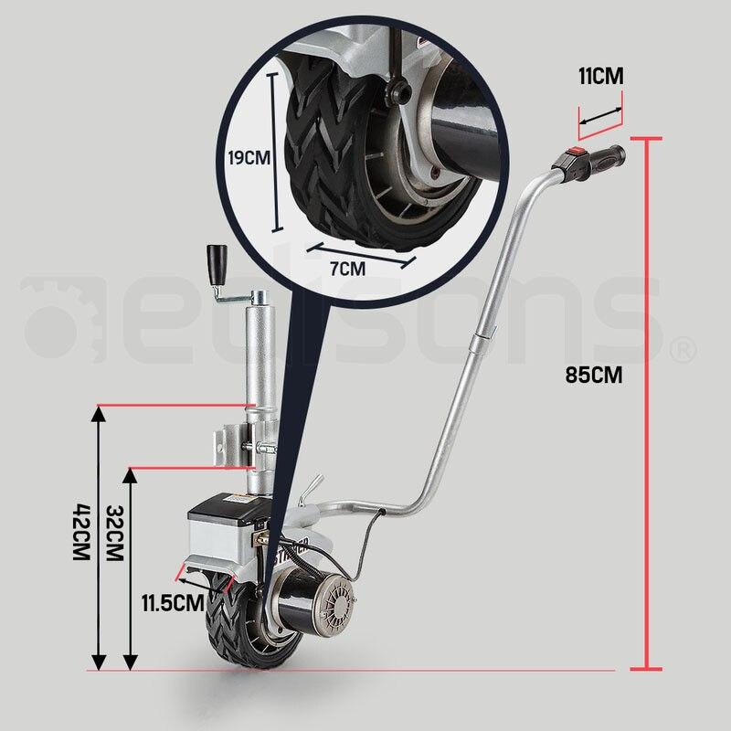 Electric Caravan Trailer Mover 2270kg MOTORISED JOCKEY WHEEL Solid Wheel