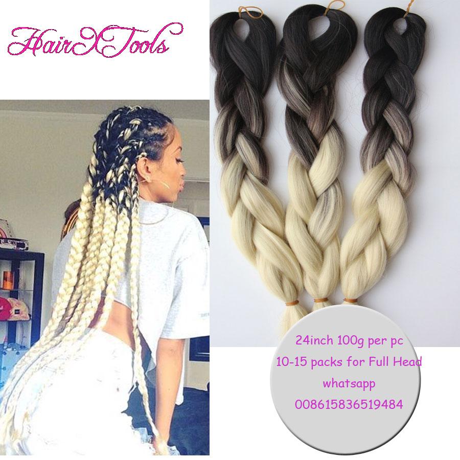 24inch Ombre Kanekalon Braiding Hair 100g 10pcs Braiding