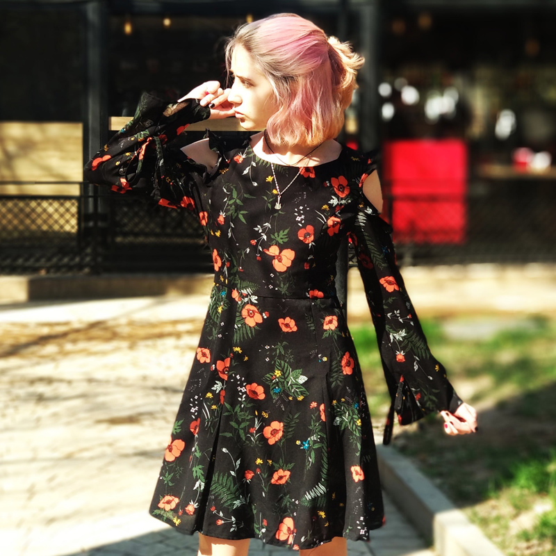 Ruffles Homecoming Dresses Ever Pretty AS05899 New Fashion Casual A-Line Long Sleeve Short Dress Floral Print Party Dress 2020