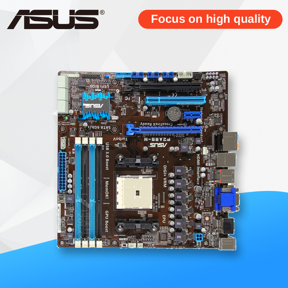 все цены на Asus F2A85-M Desktop Motherboard A85X Socket FM2 APU DDR3 SATA3 Micro-ATX On Sale онлайн