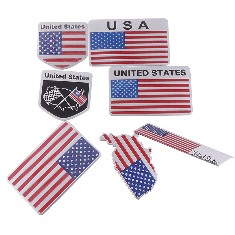Sticker Flag-Emblem Badge Motorcycle-Decal Car-Styling Aluminium-Alloy American 3D 1pcs title=
