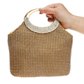 2016 Soft Silver/Gold Handle Messenger Bags For Wedding Party Evening Bags Small Purse Full Rhinestones Bags