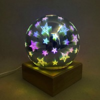 Bois coloré 3d lumière boule magique projection 3d lampe USB alimentation chambre atmosphère nuit lumière ciel lampe de Table