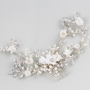 Image 5 - Flower Silver color Bridal Hair Comb Jewelry Wedding Party Headbands Bride Vintage Hairwear Jewelry Accessories