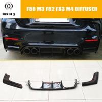 M3 M4 Carbon Fiber Rear Bumper Diffuser Spoiler with Splitter for BMW F80 M3 F82 M4 Coupe F83 M4 Convertible 2012 2017 3PCS