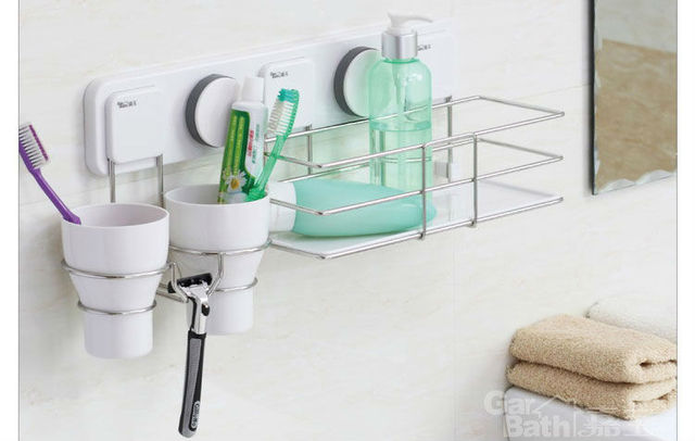 Bathroom DIY wall suction Cup rack Stainless Steel double toothbrush  cup holder,double toothbrush Cup Holder--Free shipping