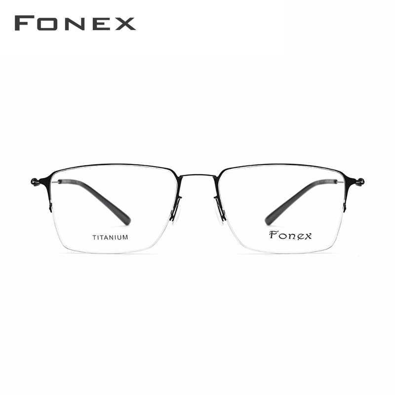 2468a355e1 ... De titanio gafas hombres Semi montura anteojos recetados mujeres miopía  marcos ópticos ultraligero coreano sin tornillos ...