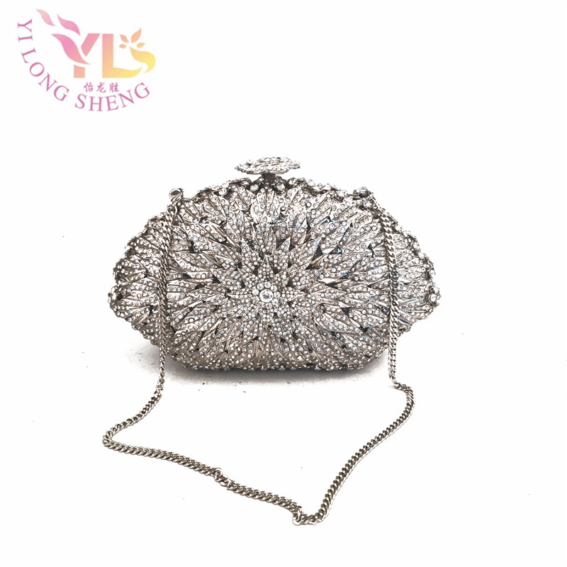 Silver Small Crystal Evening Purses Evening Bags Clutch Stones Crystal Glass Stone Bag Day Clutch Purse Evening Bag YLS-F88 silver metal clutch bag with stone clutch evening bags women stylish and simple silver clutch bag yls how24
