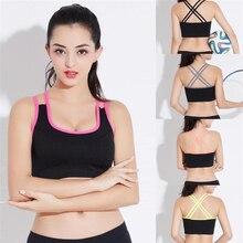 e9958646ec2b3 WATER PRINCESS Push Up Bras for Women Top Fitness Yoga Cross Strap Sports  Bra Gym