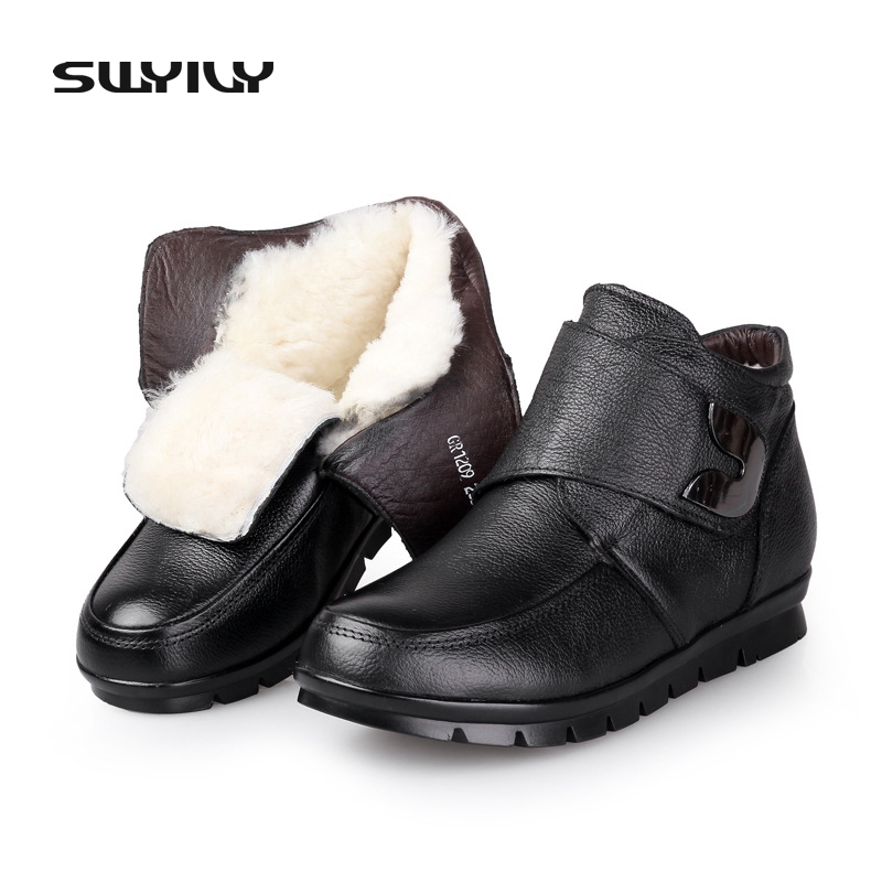 Winter Women Genuine Leather Wool Warm Snow Boots High Quality Non-Slip waterproof Ankle Boots Really Fur Mother Winter Shoes ugz quality women winter boots genuine leather black snow boots high waterproof tall warm shoes botas feminina inverno