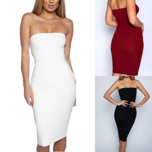 Hot Sale  Exquisite Soild blouson Women Bodycon Sleeveless Evening Party Club Wear Stretch Skirt Solid Strapless 4